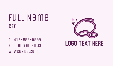 Star Letter Q Business Card