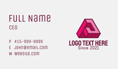 Pink Geometric Letter A Business Card