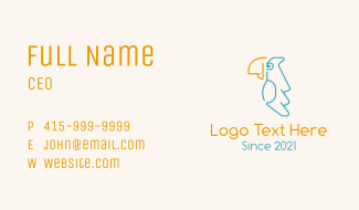 Perched Parrot Bird Business Card