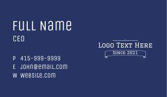 Varsity Text Banner Business Card