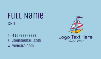 Colorful Sailboat Business Card