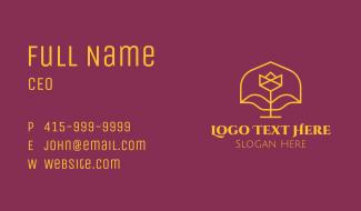 Golden Elegant Flower Business Card