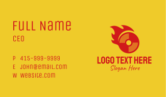 Red Flame Disk Business Card