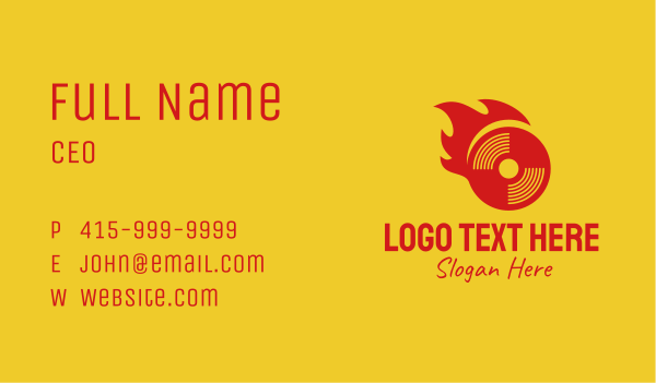 disk - Red Flame Disk Business card horizontal design