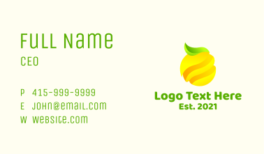 Minimalist Lemon Fruit Business Card