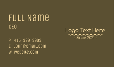 Simple Coffee Wordmark Business Card