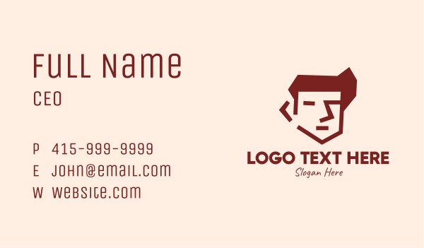 clothing line - Brown Guy Head Business card horizontal design