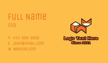 Orange Geometric Fox  Business Card