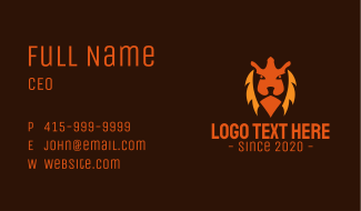 Aggressive Lion Face Business Card