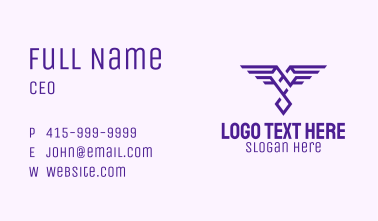 Heart Wings Crest Business Card