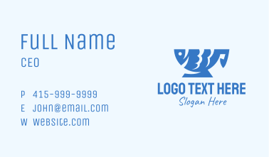 Blue Fish Cup Business Card