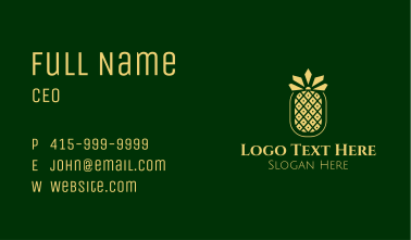 Golden Pineapple Crown Business Card