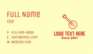 Red Banjo Guitar Business Card
