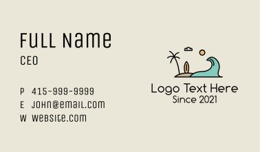 Surfing Surf Beach Wave Business Card