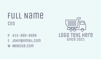Minimalist Dump Truck  Business Card