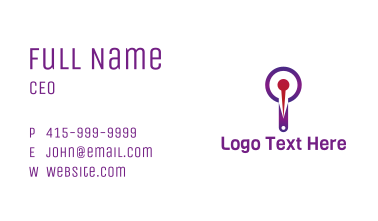 Purple Magnifying Pin Business Card