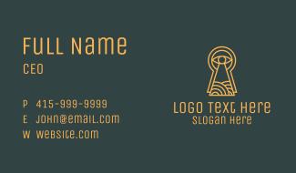 Orange Keyhole Eye Business Card