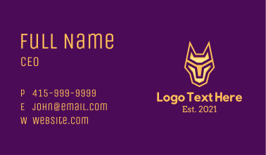 Golden Geometric Gaming Hound Business Card