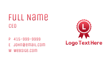 Red Honor Badge Business Card