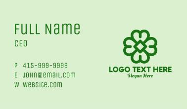 Green Shamrock Outline Business Card