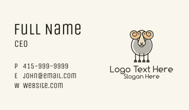 Cartoon Sheep Ram Business Card