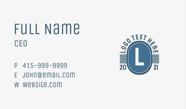 Blue Retro Template  Letter  Business Card
