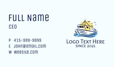 Sailing Fishing Boat Business Card