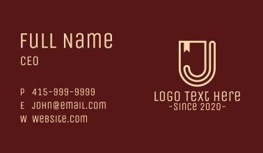 Shield Banner Letter J Business Card