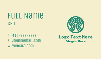 Green Abstract Person  Business Card