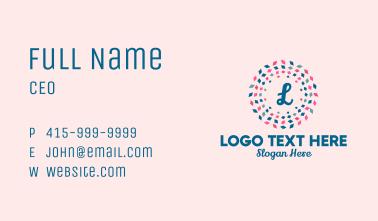 Festive Confetti Lettermark Business Card