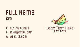 Colorful Line Art Bird Business Card