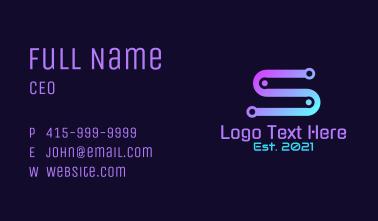 Gradient Circuit Letter S Business Card