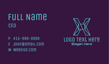 Cyber Letter X Business Card