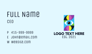 Colorful Retro Eye Letter  Business Card