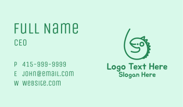 Cute Green Iguana Business Card