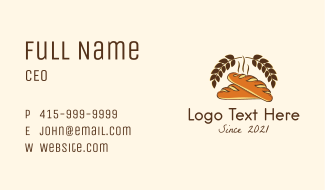Organic Baguette Bread Business Card