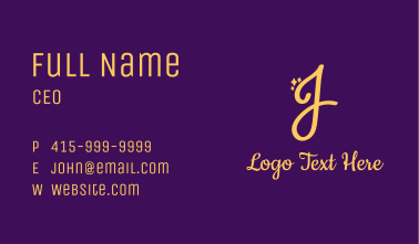 Gold Sparkle Letter J Business Card