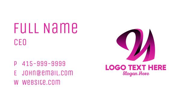lingerie - 3D Pink Cursive Letter N  Business card horizontal design