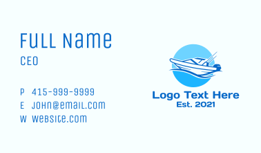 Blue Fishing Boat Business Card