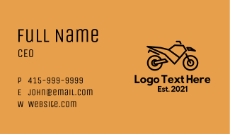 Street Motorcycle Travel Business Card