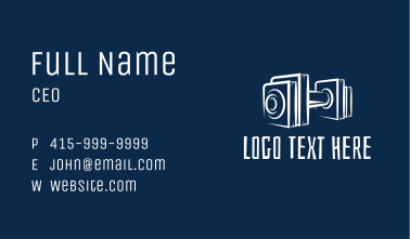 White Barbell Outline  Business Card