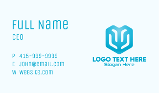 Blue Abstract Cube Tech Business Card