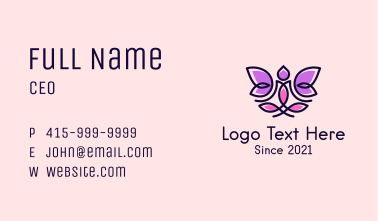 Floral Yoga Instructor Business Card