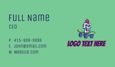 Mohawk Skull Skateboard  Business Card