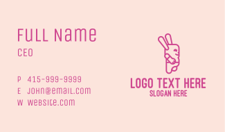 Pink Chubby Bunny Business Card