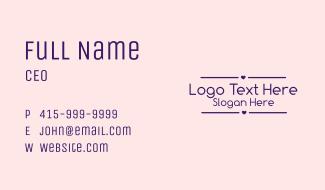 Cute Heart Wordmark  Business Card