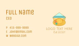 Summer Hat Line Art Business Card