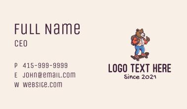 Skater Bear Mascot Business Card