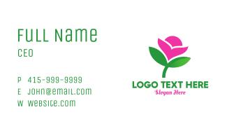 Pink & Green Flower Business Card