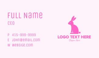 Pink Bunny Rabbit Business Card